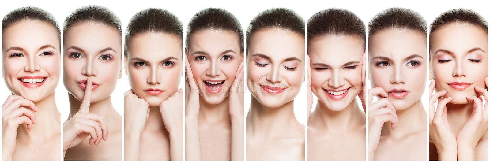 Collage of negative and positive female face expressions. Set of young woman expressing different emotions and gesturing isolated royalty free stock photography