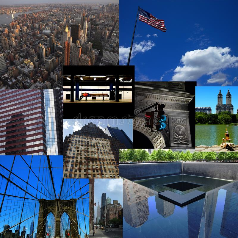 Collage of new york. Collage of typical Manhattan images in New York, America royalty free stock photos