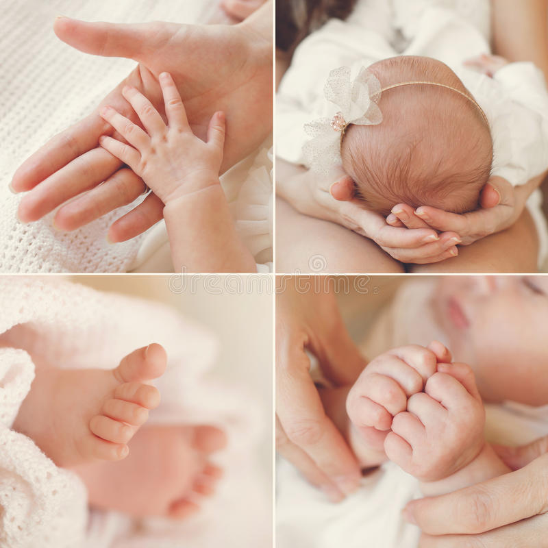 Collage of a newborn baby in his mother's arms. royalty free stock photography