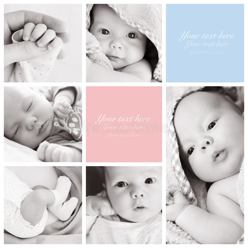 Collage of newborn baby's photos stock photos