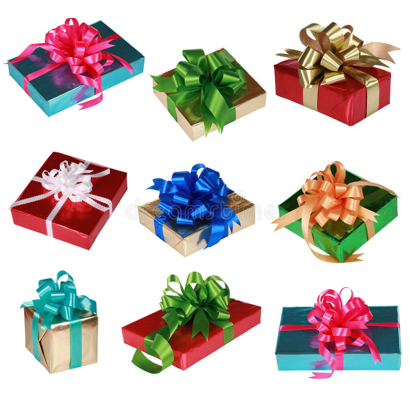 Collage of Nine colorful presents royalty free stock image