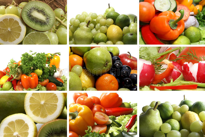 A Collage Of Nine Nutrition Theme Images Stock Photo