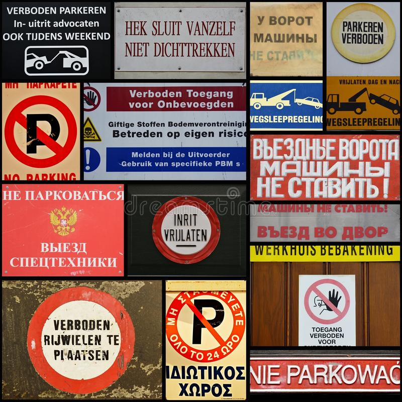 Collage of No Parking Signs. No Parking signs in different languages from Europe and Russia stock photography