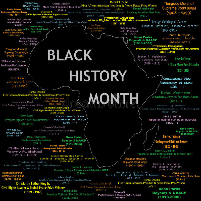 Collage noir de mois d'histoire illustration de vecteur