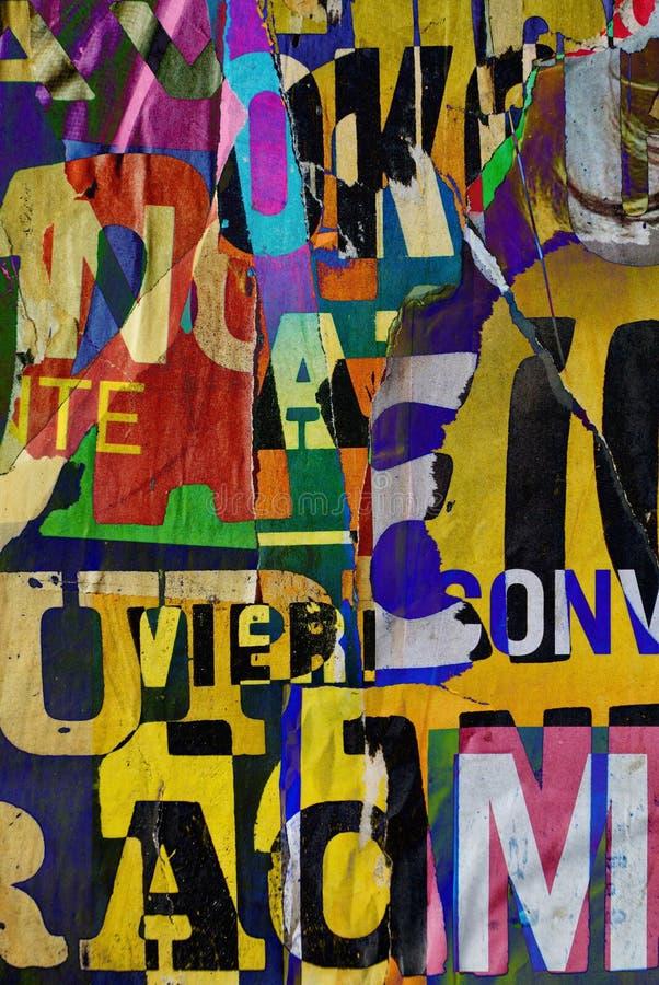 Collage numérique aléatoire de fond ou papier peint de conception de typographie photos stock