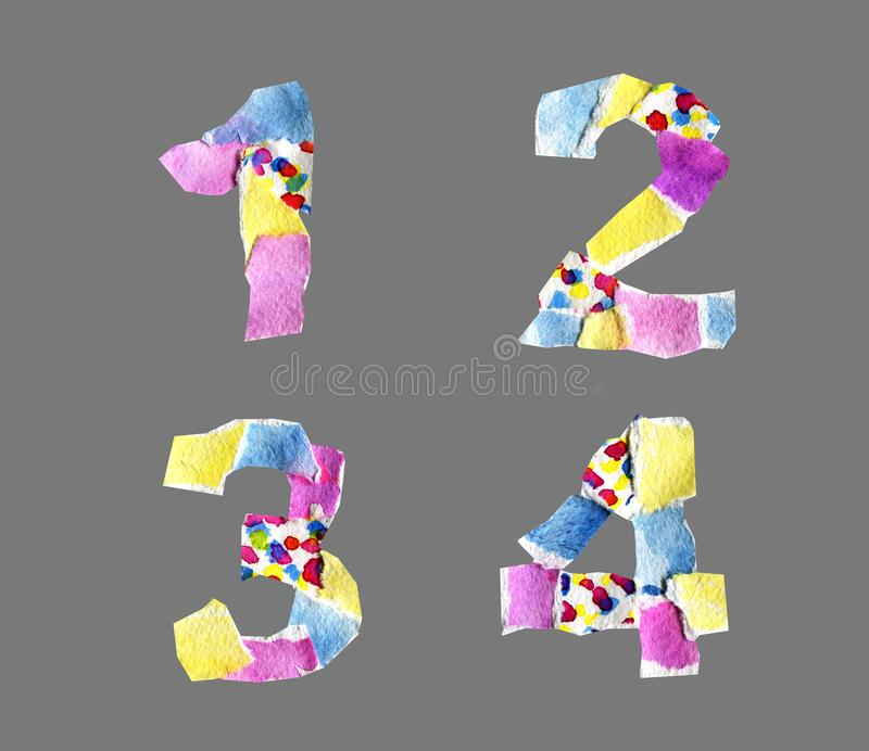 Collage numbers from 1 to 4 made of paper isolated on grey backg. Collage abc made of watercolor paper with spots isolated on grey background. Abstract grotesque royalty free stock photos