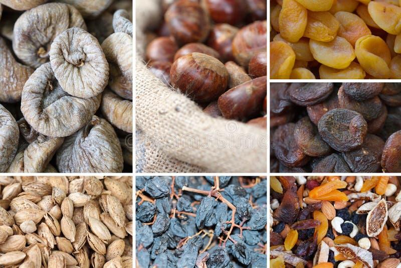 Collage Nuts e secco della frutta immagine stock