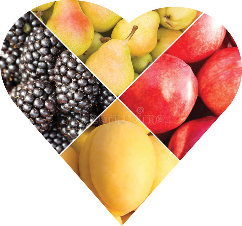 Free Collage Of Fruits And Berries In The Form Of A Heart Royalty Free Stock Images - 98595149