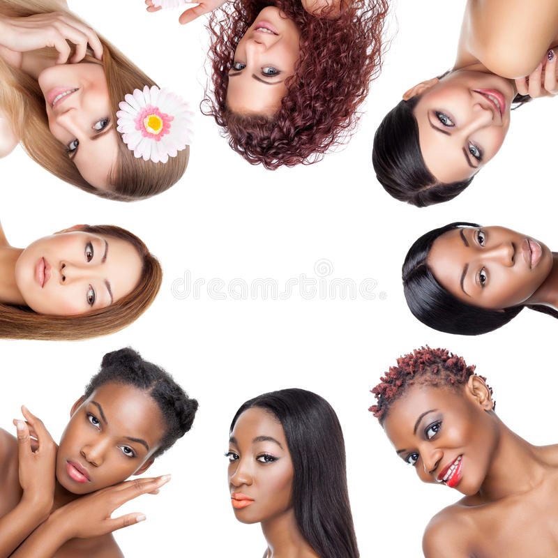 Free Collage Of Multiple Beauty Portaits Of Women With Various Skin Tones Stock Photos - 54514223