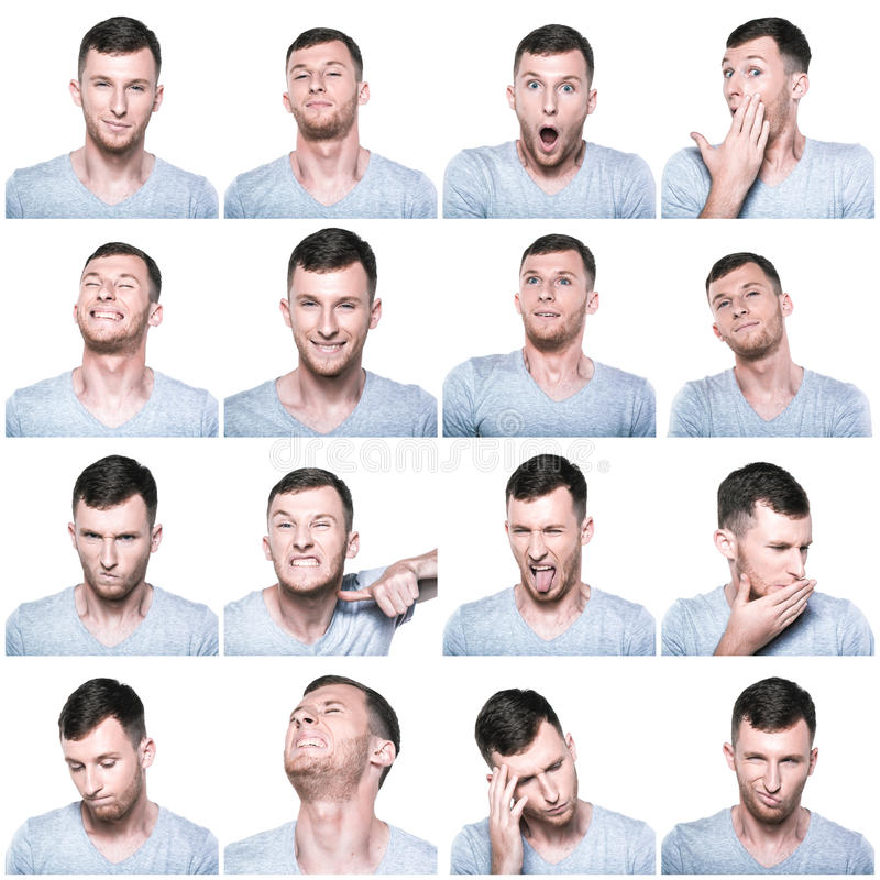 Free Collage Of Negative And Positive Face Expressions Royalty Free Stock Images - 49029279