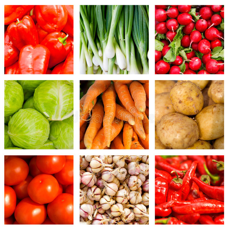 Free Collage Of Nine Fresh Vegetables Stock Images - 13822954
