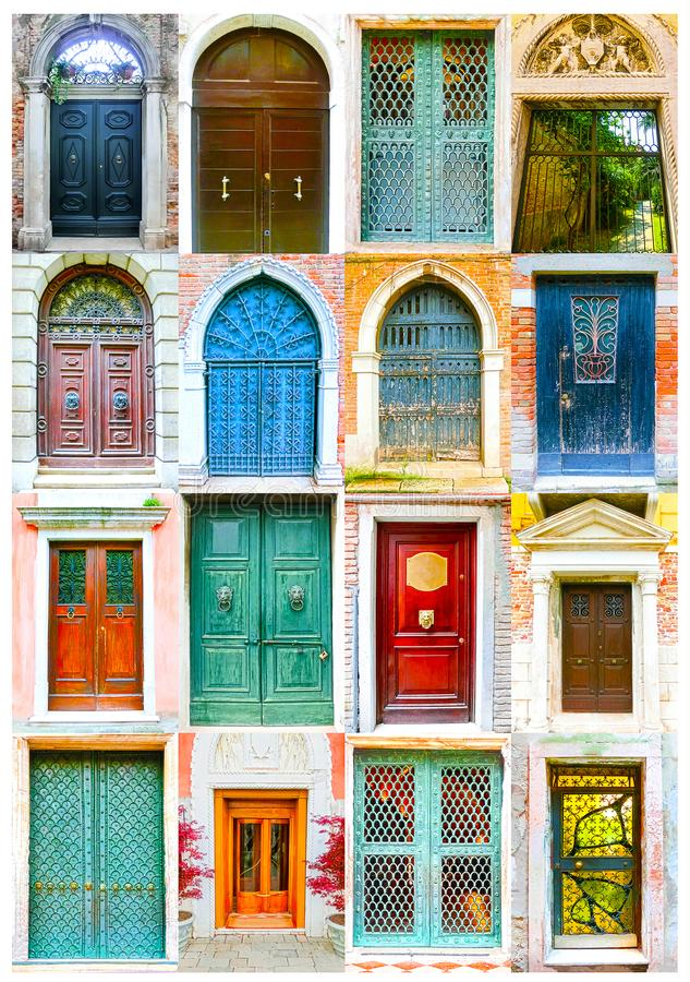 Free Collage Of Picturesque Doors At The Venice, Italy Stock Image - 100897051