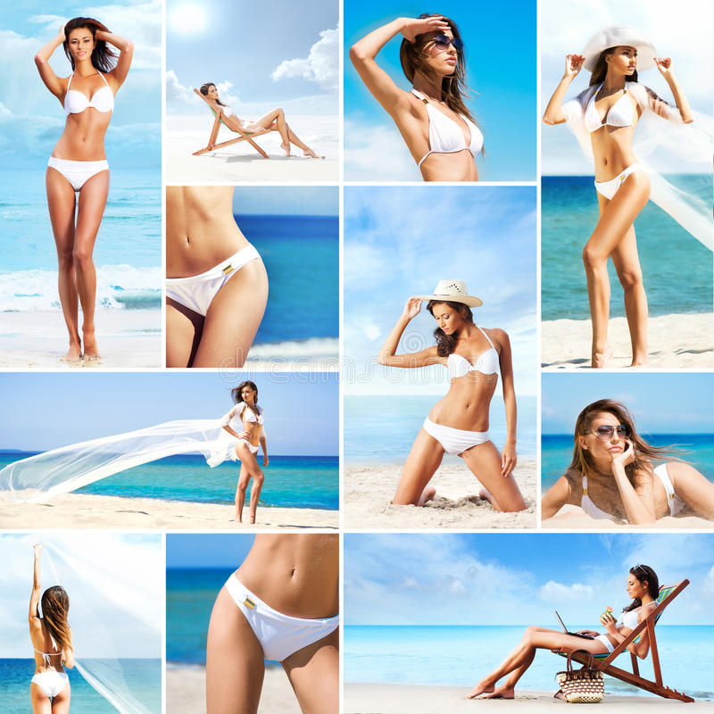 Free Collage Of Young Women In Swimsuits On The Beach Royalty Free Stock Photos - 38369618