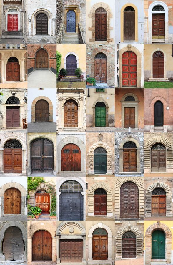 Collage of medieval front doors royalty free stock image