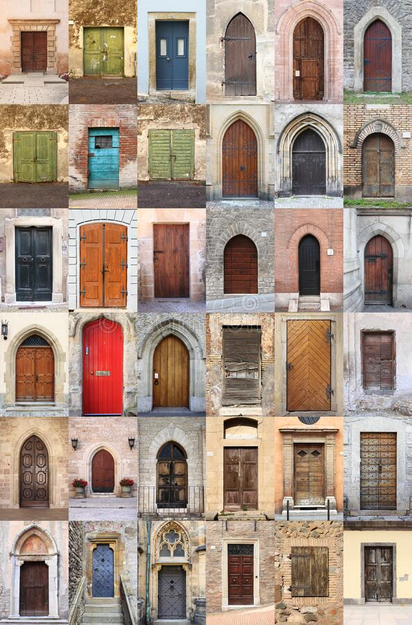 Collage of medieval front doors royalty free stock photo