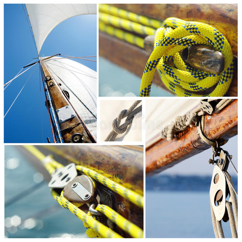Collage of old sailing boat equipment - vintage style royalty free stock photography