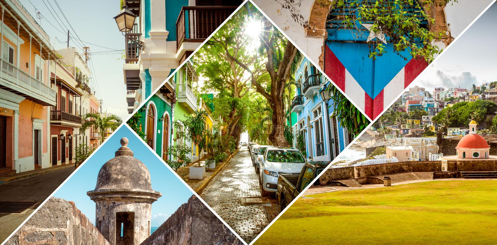Collage of Old San Juan, Puerto Rico. Collage of Old San Juan in Puerto Rico stock photography