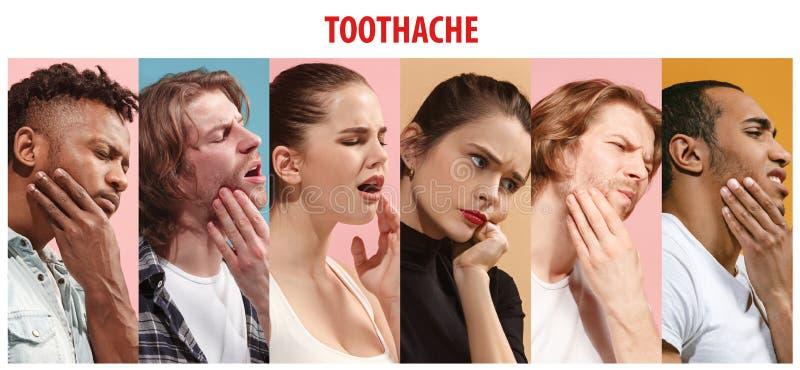 Collage om grupp människor med tandvärk Män kvinnor med tanden smärtar sjukdom royaltyfri bild