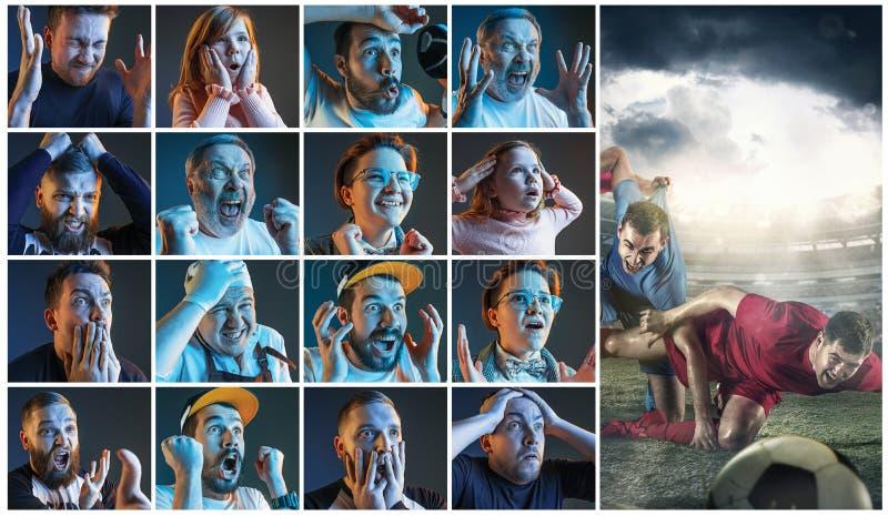 Collage om sinnesrörelser av fotbollsfan som håller ögonen på fotboll på tv royaltyfri foto
