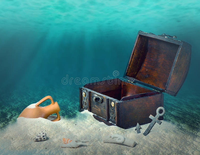 Collage of opened empty old wooden treasure chest submerged underwater world with anchor, amphora and light rays, close up, copy. Space royalty free stock photography