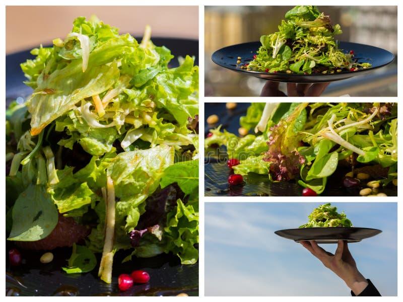 collage Organischer Salat mit Gemüse und Grüns am Restaurant lizenzfreies stockbild