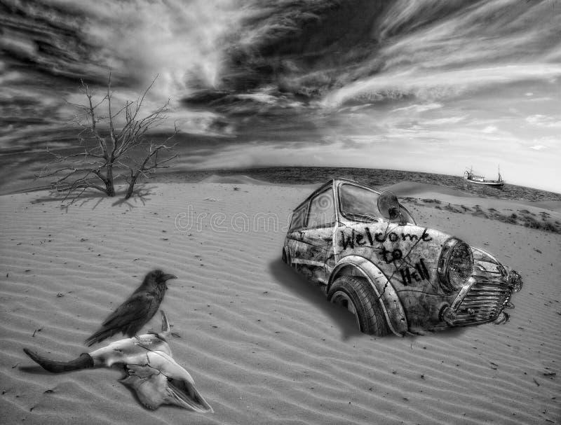 Collage over doodswoestijn royalty-vrije illustratie