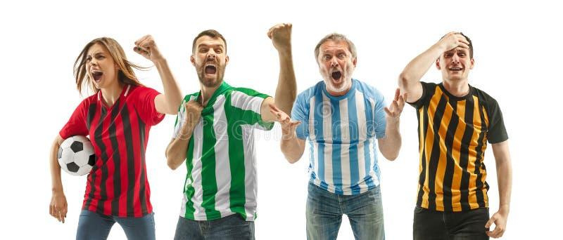 Collage over emoties van voetbalventilators stock foto's