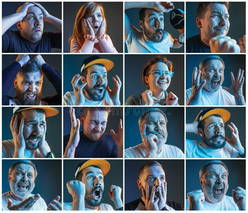 Collage over emoties van voetbalventilators die op voetbal op TV letten stock fotografie