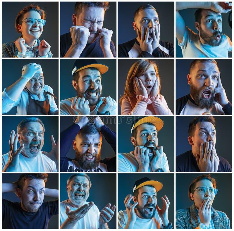 Collage over emoties van voetbalventilators die op voetbal op TV letten stock foto