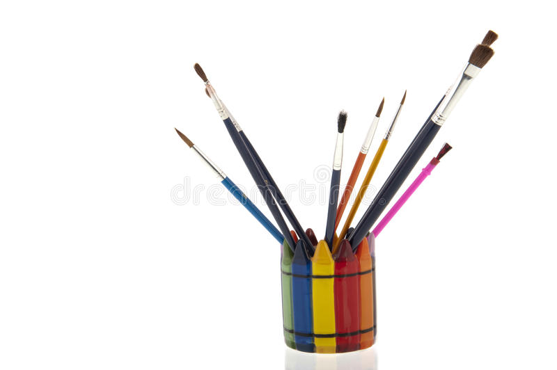 Download Collage Of Paintbrushes In A Colourfull Cup Royalty Free Stock Photography - Image: 30027417