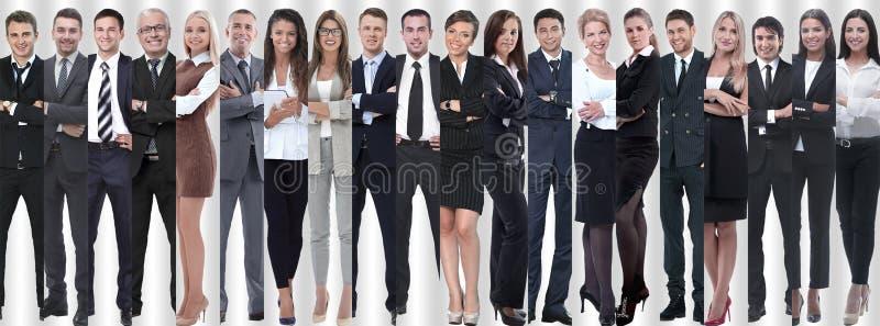 Collage panorámico de los grupos de empleados acertados imagenes de archivo