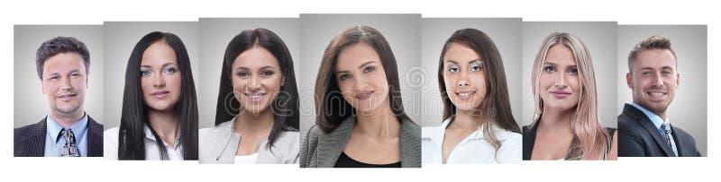 Collage panorámico de los retratos de empresarios jovenes fotografía de archivo