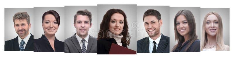 Collage panorámico de los retratos de empresarios jovenes imágenes de archivo libres de regalías