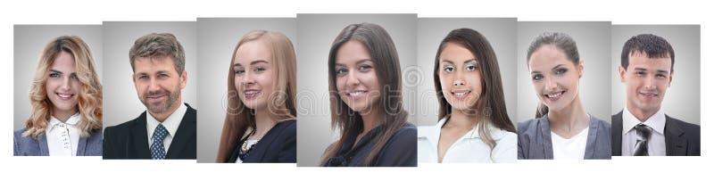 Collage panorámico de los retratos de empresarios jovenes fotos de archivo libres de regalías