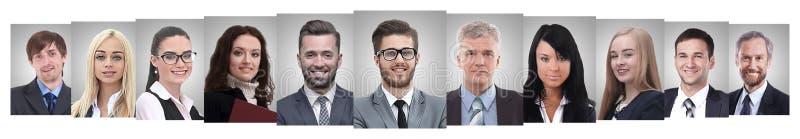 Collage panorámico de los retratos de hombres de negocios acertados foto de archivo