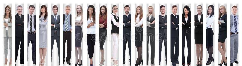 Collage panor?mico de los grupos de empleados acertados imagen de archivo