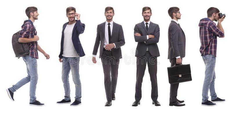 Collage panoramico del giovane auto-motivato Isolato su bianco fotografie stock