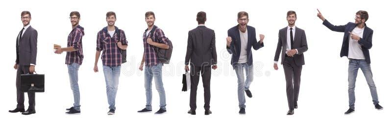 Collage panoramico del giovane auto-motivato Isolato su bianco fotografia stock libera da diritti
