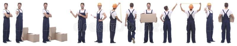 Collage panoramique du bricoleur masculin d'isolement sur le blanc image stock