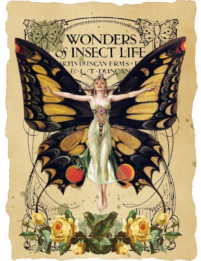 Antique Botanical Collage - Art Nouveau Butterfly Illustration - Watercolor - Vintage Sheet Music - Distressed Paper Background stock illustration