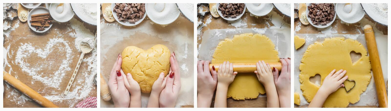 Collage Pastry, cakes, cook their own hands. stock photo