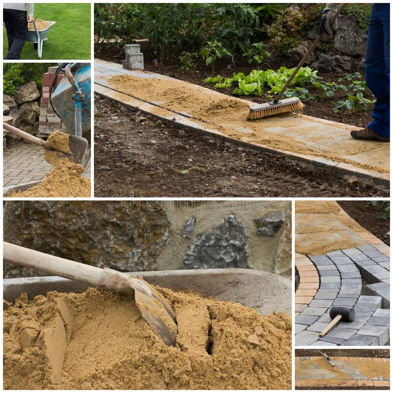 Collage path construction. Collage of path construction and paving materials stock photos