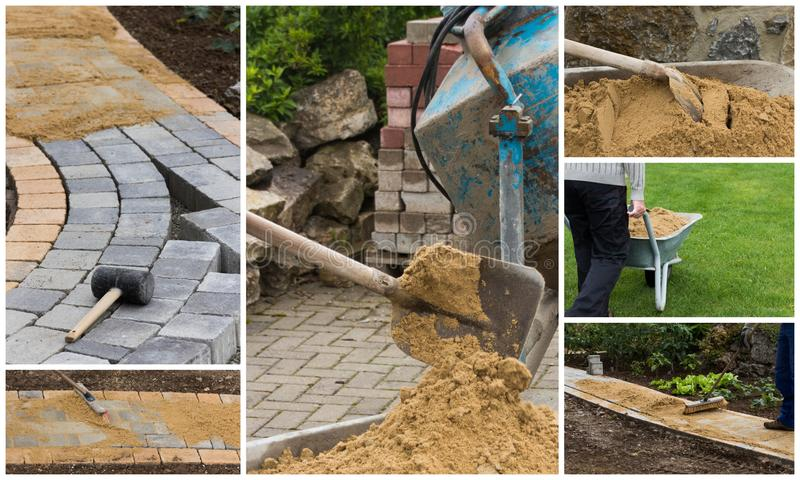 Collage path construction. Collage of path construction and paving materials stock photo