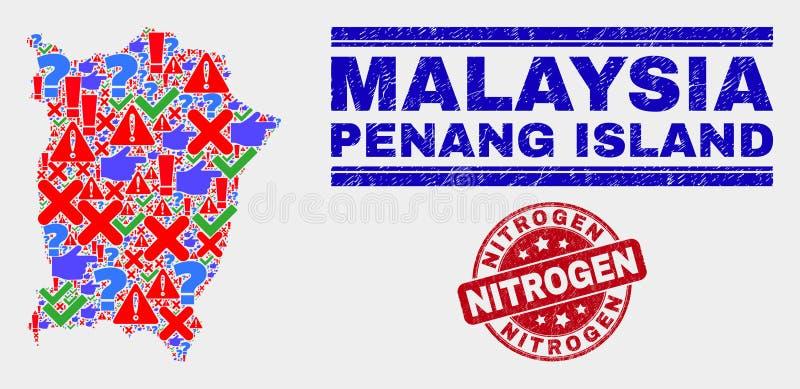 Collage of Penang Island Map Sign Mosaic and Distress Nitrogen Stamp. Symbolic Mosaic Penang Island map and seal stamps. Red round Nitrogen grunge seal. Colorful vector illustration