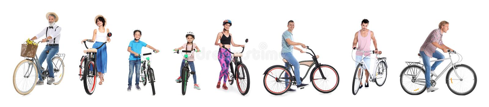 Collage of people with bicycles on white royalty free stock photos