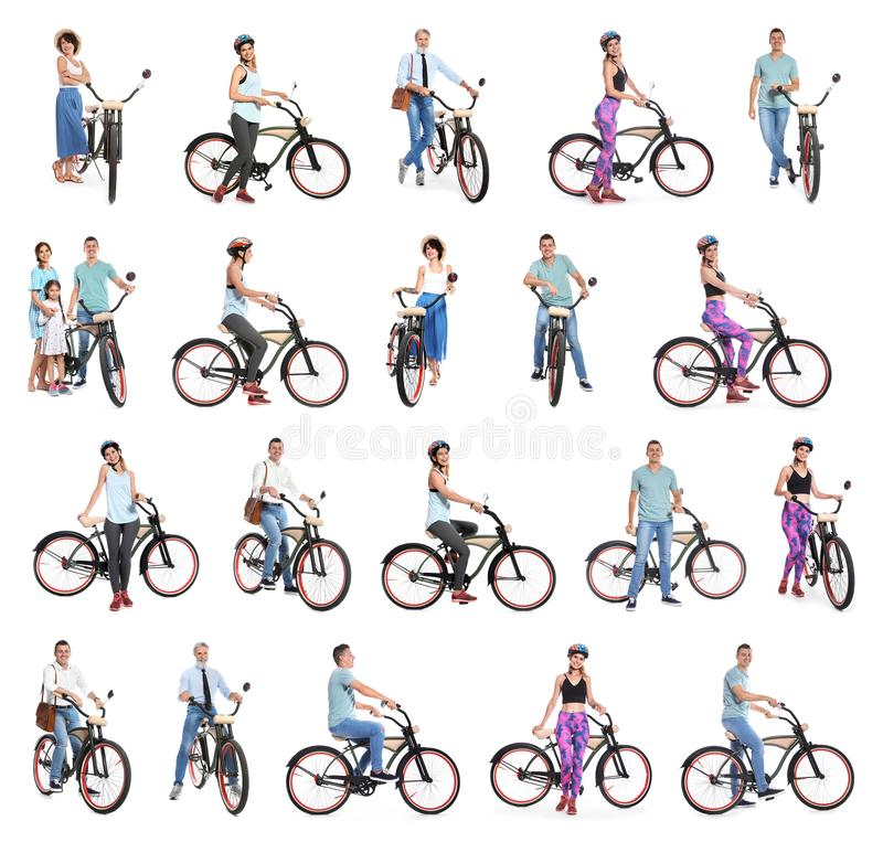 Collage of people with bicycles on white stock images