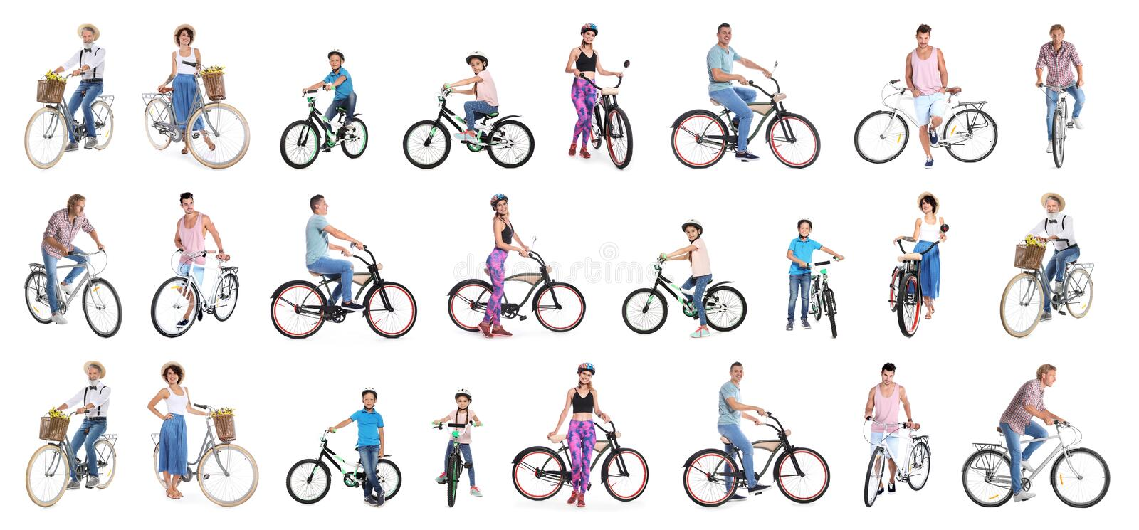 Collage of people with bicycles on white royalty free stock photo