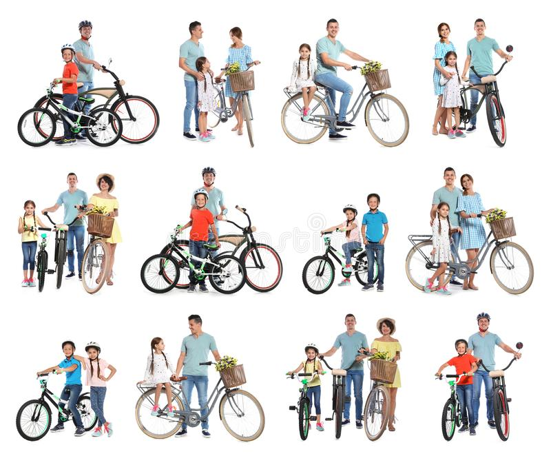 Collage of people with bicycles on background stock photography