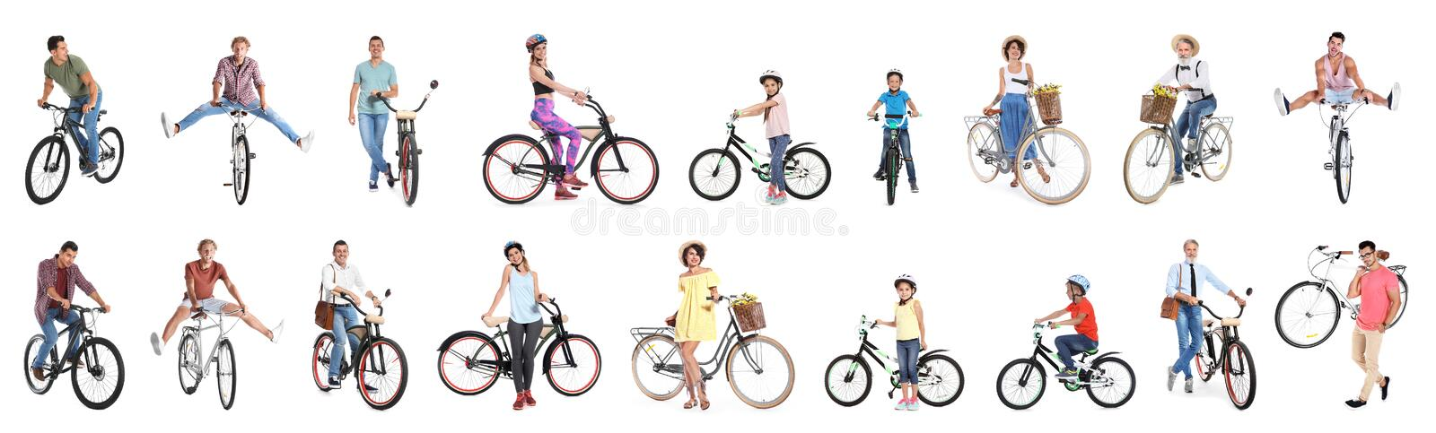 Collage of people with bicycles on background stock photo