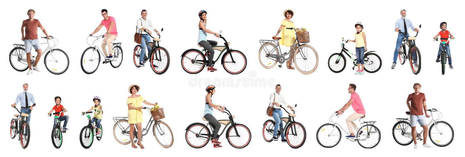 Collage of people with bicycles on background royalty free stock image